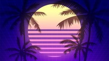 Futuristic Neon Background With Sun And Palm Silhouettes, Illustration In The Style Of An Old Computer Game