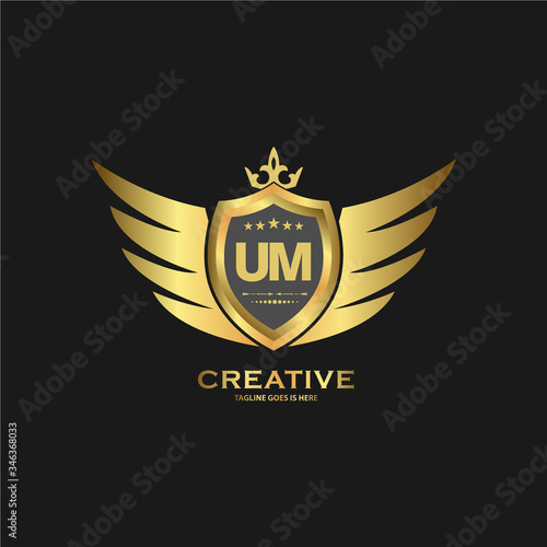 Photo Abstract letter UM shield logo design template