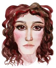 Female Face Art Portrait Water...