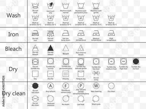 Fototapeta Laundry symbols icon set. Vector illustration, flat design.