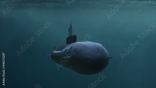 Photo Submarine. Render 3d. Illustration.