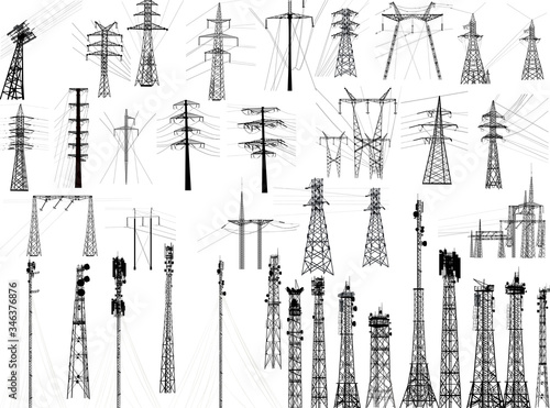 Photo group with thirty nine antenna towers on white