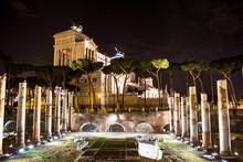 Illuminated Altare Della Patria Against Sky At Night
