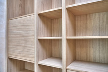 Wooden Bookshelves. Wooden Bookcases And Wall Panels Made Of Oak Veneered MDF
