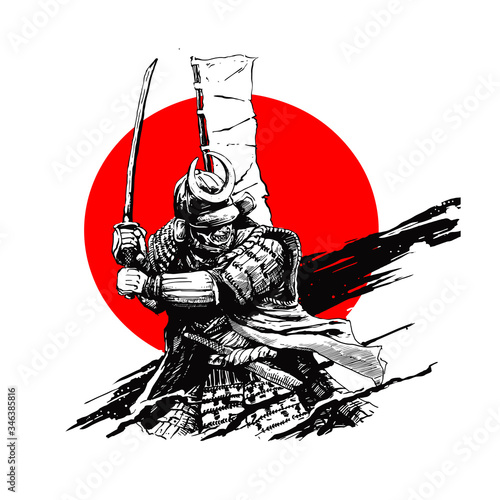 Papel de parede samurai character illustration