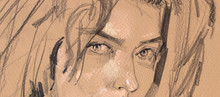 Pencil Drawing Illustration, Female Nudity Portrait, Handmade