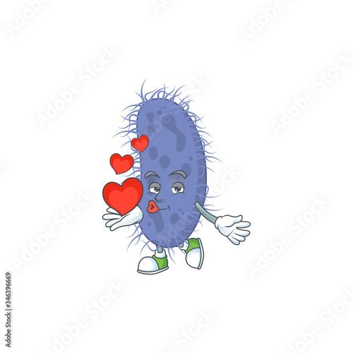 An adorable cartoon design of salmonella typhi holding heart Canvas Print