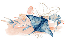 Watercolor Illustration Of Ray...