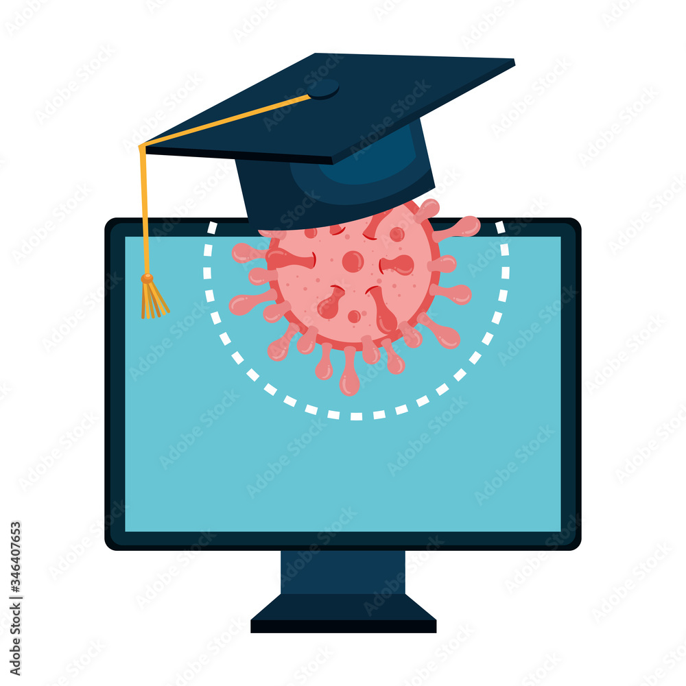 Fototapeta education online by computer with hat graduation and particle covid 19 vector illustration design