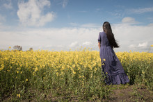 Girl In Blue Dress In Field Of...