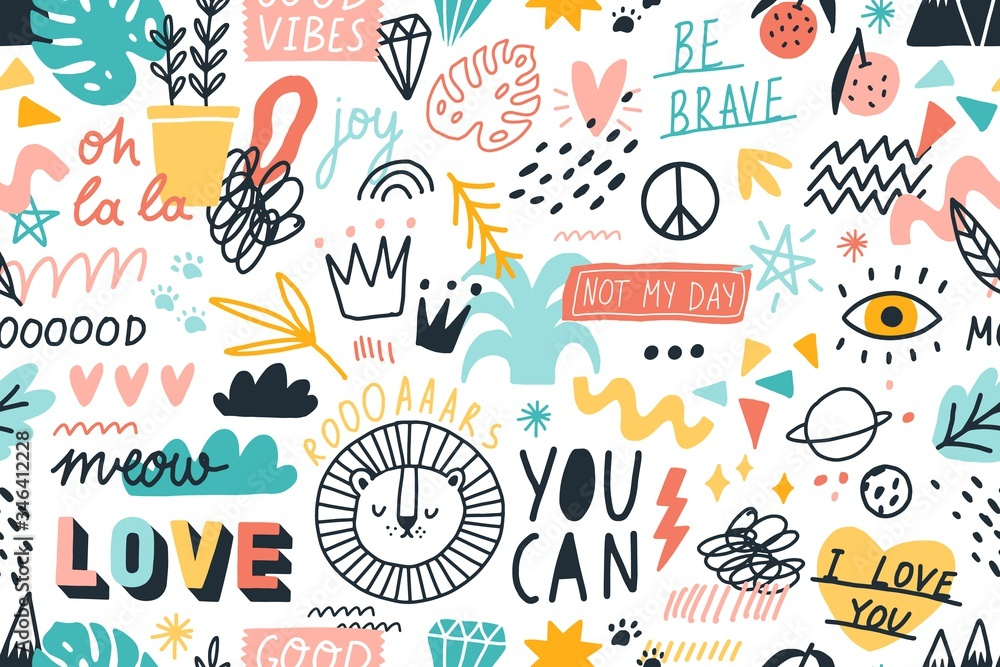 Fototapeta Different hand drawn design elements animals, plants, symbols and handwritten slogans seamless pattern. Various colorful phrases and inscriptions on white. Vector flat illustration in doodle style