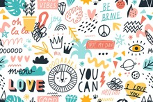Different Hand Drawn Design Elements Animals, Plants, Symbols And Handwritten Slogans Seamless Pattern. Various Colorful Phrases And Inscriptions On White. Vector Flat Illustration In Doodle Style