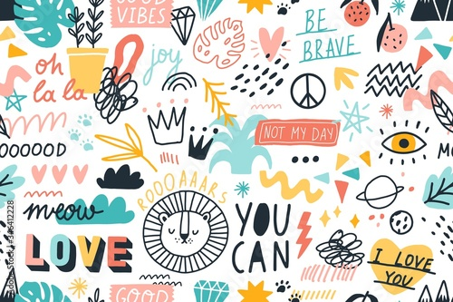 Obraz Different hand drawn design elements animals, plants, symbols and handwritten slogans seamless pattern. Various colorful phrases and inscriptions on white. Vector flat illustration in doodle style - fototapety do salonu