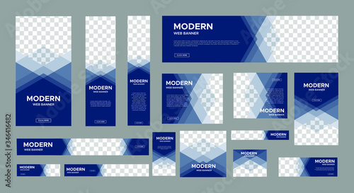 Fotomural set of creative web banners of standard size with a place for photos