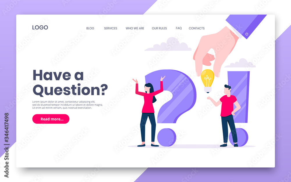 Fototapeta FAQ or Q and A internet landing page concept web template. Teamwork characters working together with faq big question mark, frequently asked questions concept flat style design vector illustration.