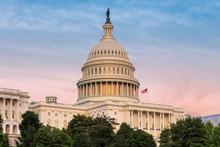 Capitol Building At Sunset, Washington DC, USA.