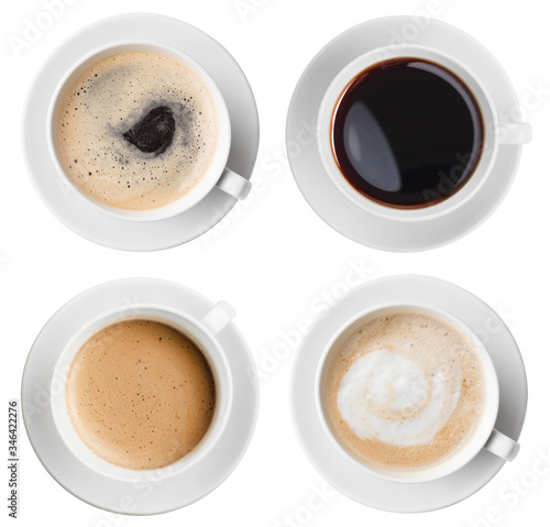 Vászonkép Coffee cups top view set isolated on white