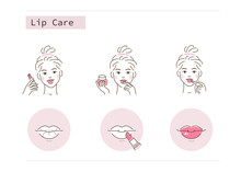 Beauty Girl Take Care Of Her Lips And Use Lipstick And Lip Balsam Against Dry And Cracked Lips. Woman Applying Lip Balm With Fingers. Flat Vector Illustration And Icons Set.