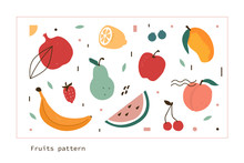 Fruits And Berries Hand Drawn Doodle Collection. Apple, Peach, Mango, Watermelon And Other Tropical Fruits. Pattern Design In Scandinavian Minimal Style. Flat Cartoon Vector  Illustration.