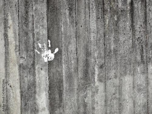 Handprint On Wooden Wall Tapéta, Fotótapéta