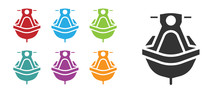 Black Jet Ski Icon Isolated On White Background. Water Scooter. Extreme Sport. Set Icons Colorful. Vector Illustration