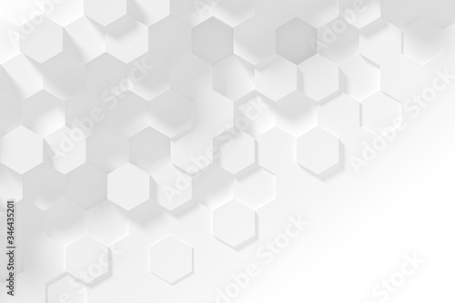 Fotografie, Obraz Hexagonal white abstract background - 3d abstract hexagons rendering