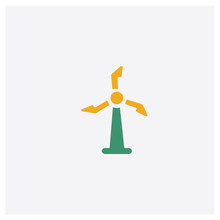 Turbine Concept 2 Colored Icon. Isolated Orange And Green Turbine Vector Symbol Design. Can Be Used For Web And Mobile UI/UX