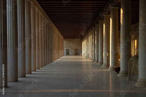 Beautiful view of the columns of The Stoa of Attalos in Athens, Greece with rays Wallpaper Mural