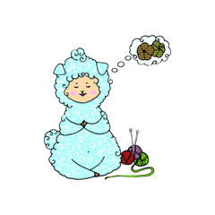 Little funny sheep. Hand made theme. Hand drawing digital illustration. Knitting design