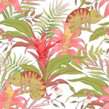 Seamless Pattern With Chameleo...