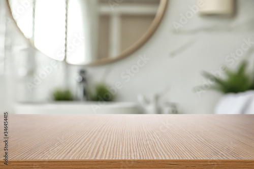 Empty wooden table and blurred view of stylish bathroom interior Tapéta, Fotótapéta