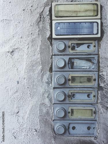 Fotografia, Obraz Doorbells On Wall