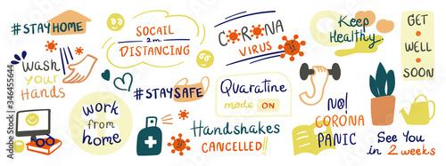 Photo CoronaVirus Covid-19 letterings doodle banner and sticker design banner