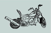 Hand Drawing Motorcycle Print ...