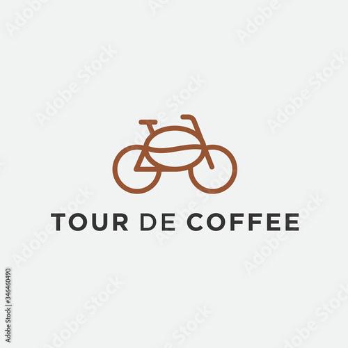 Obraz na plátně coffee bike tour logo / bicycle vector
