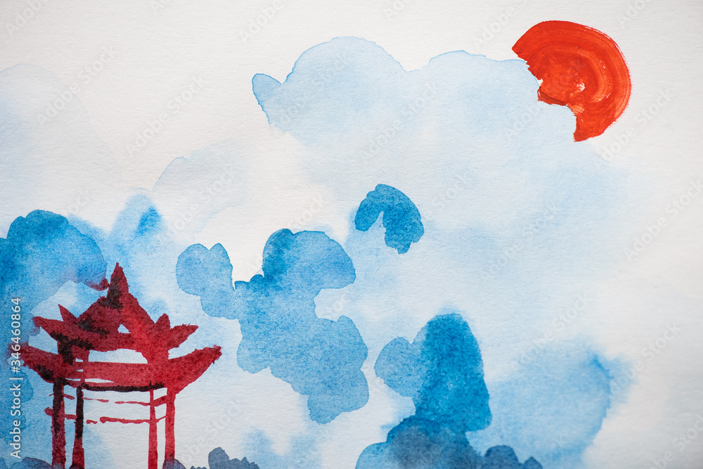Fototapeta Japanese painting with temple, sun and clouds on white