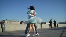 A Girl And A Guy Dance A Spani...