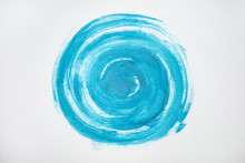 Painted Blue Circle On White B...