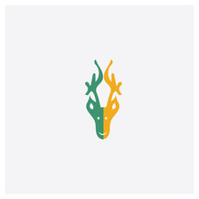 Deer Concept 2 Colored Icon. Isolated Orange And Green Deer Vector Symbol Design. Can Be Used For Web And Mobile UI/UX