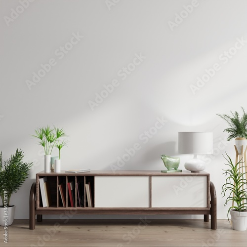 Cabinet mockup in modern empty room,white wall. Wallpaper Mural