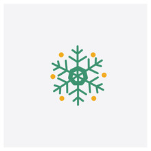 Snowflake Concept 2 Colored Icon. Isolated Orange And Green Snowflake Vector Symbol Design. Can Be Used For Web And Mobile UI/UX