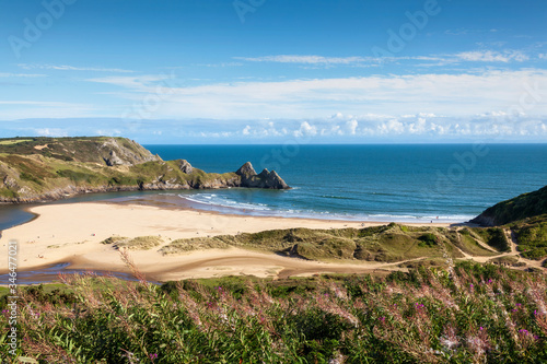 Photo Three Cliffs Bay on the Gower Peninsular West Glamorgan Wales which is a popular