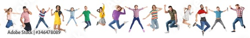 Fotografie, Tablou Collage of emotional people jumping on white background