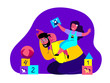 Leinwandbild Motiv Happy Young Father,Smiling Laughing Daughter Playing. Entertaining Adult Daddy Riding Kid Boy.Smiling Child,Girl Having Fun with Loving Dad.Cheerful Childhood.Family Relatives.Flat Vector Illustration