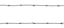 Barb Wire Fence Isolated On Wh...
