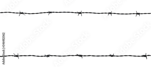 Barb wire fence isolated on white background Canvas