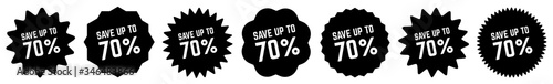 Papel de parede Save Up To 70 Percent Tag Black   70% Icon   Sticker   Deal Label   Variations