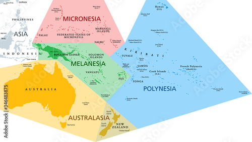 Photo Regions of Oceania, political map