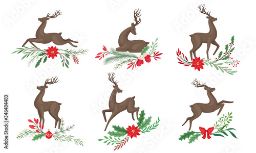 Brown Deer with Antlers and Winter Twigs and Flower Composition Beneath It Vecto Wallpaper Mural