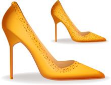 High Heel Stilettos Yellow Gol...